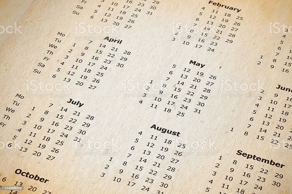 stained yearly calendar page stock photo