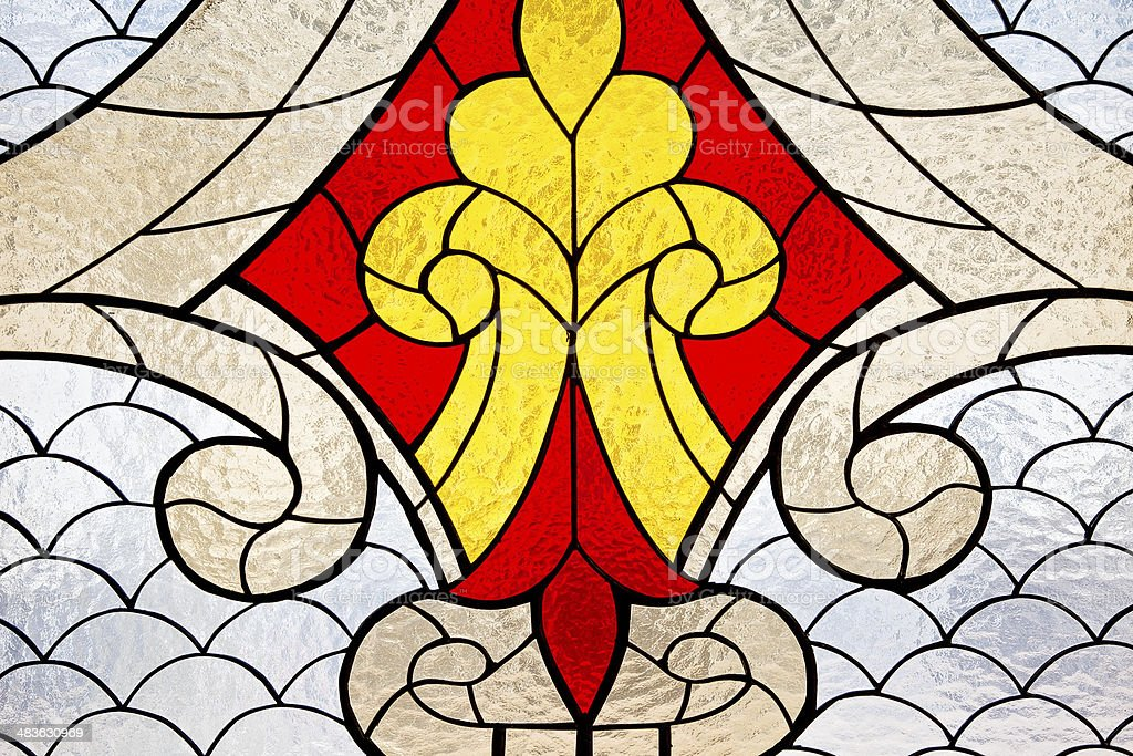 Stainedglass window is in the mosque of Qolsharif stock photo