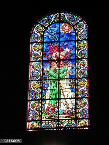Stained-glass window from the Cathedral of Saint-Front in Perigueux, France.