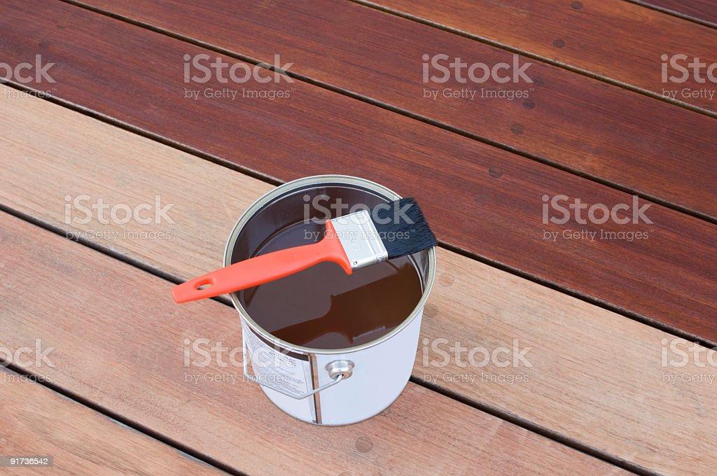 Staining Hardwood Decking stock photo