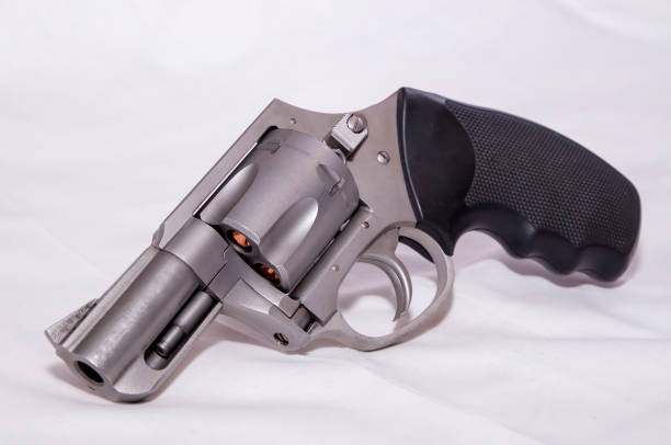 A stainless 357 magnum revolver stock photo