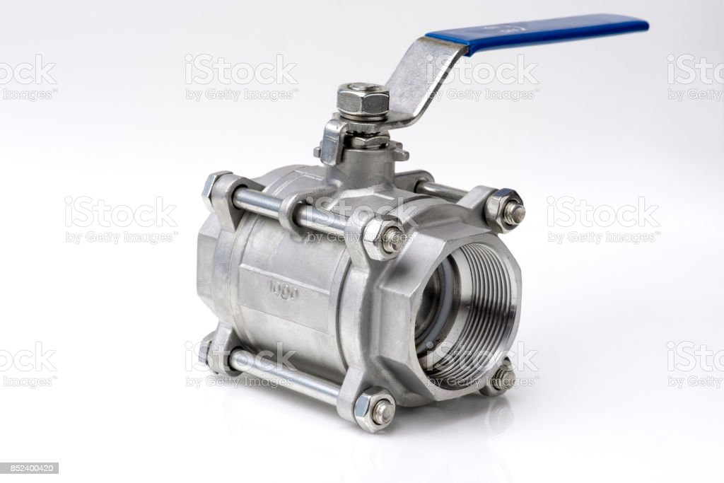 Stainless ball valve. stock photo