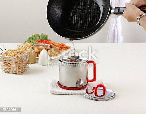 istock stainless cup with filter for keeping the reusable oil 532506611