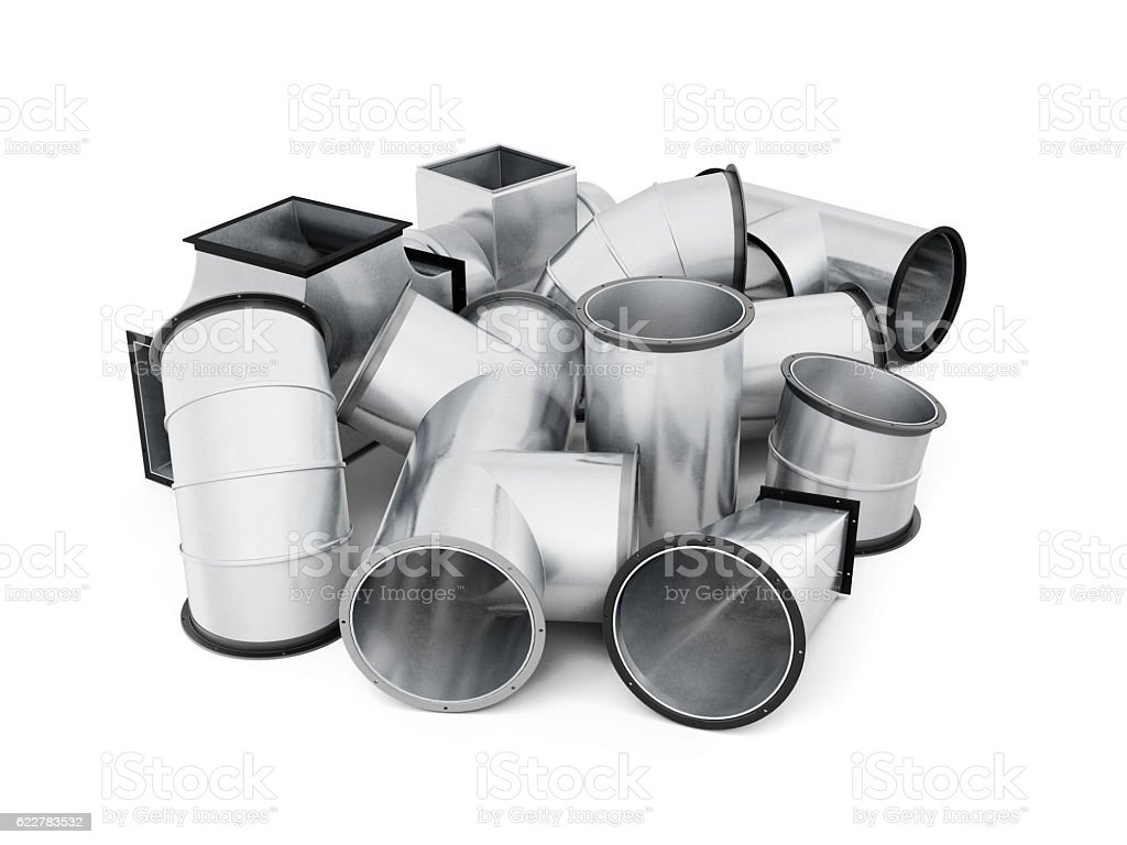 Stainless duct fittings isolated on a white background. 3d rende vector art illustration