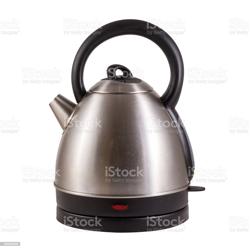 stainless electric kettle isolated on white stock photo