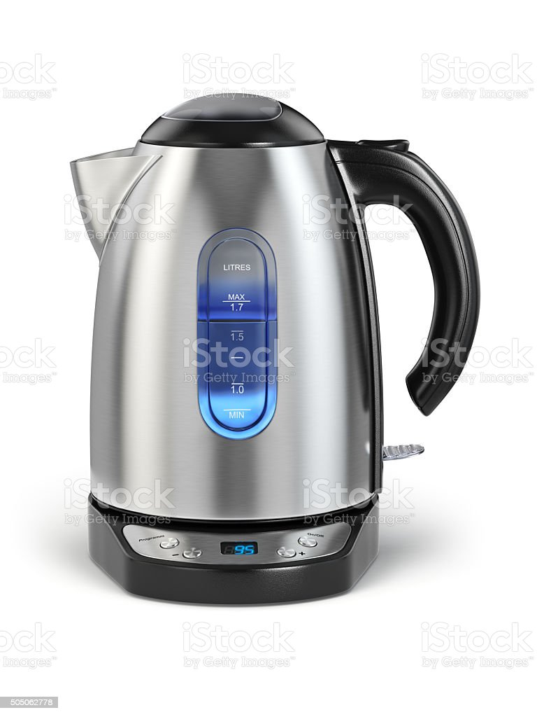 Stainless electric kettle isolated on white. stock photo