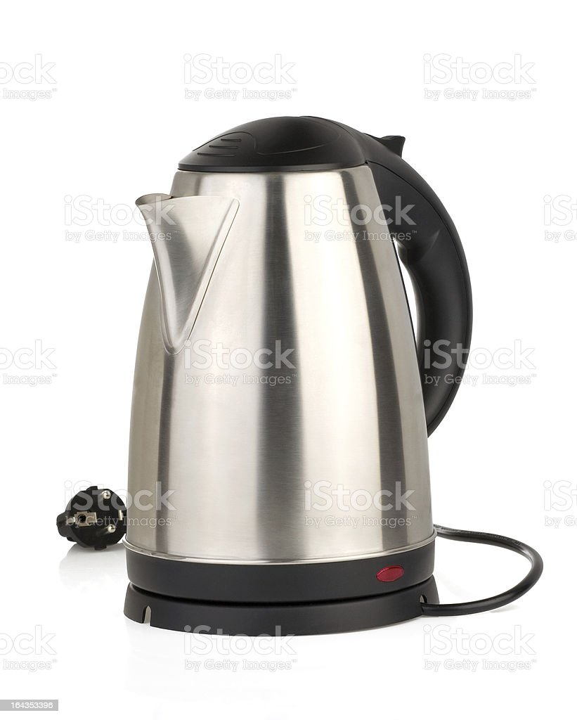 stainless electric kettle on white stock photo