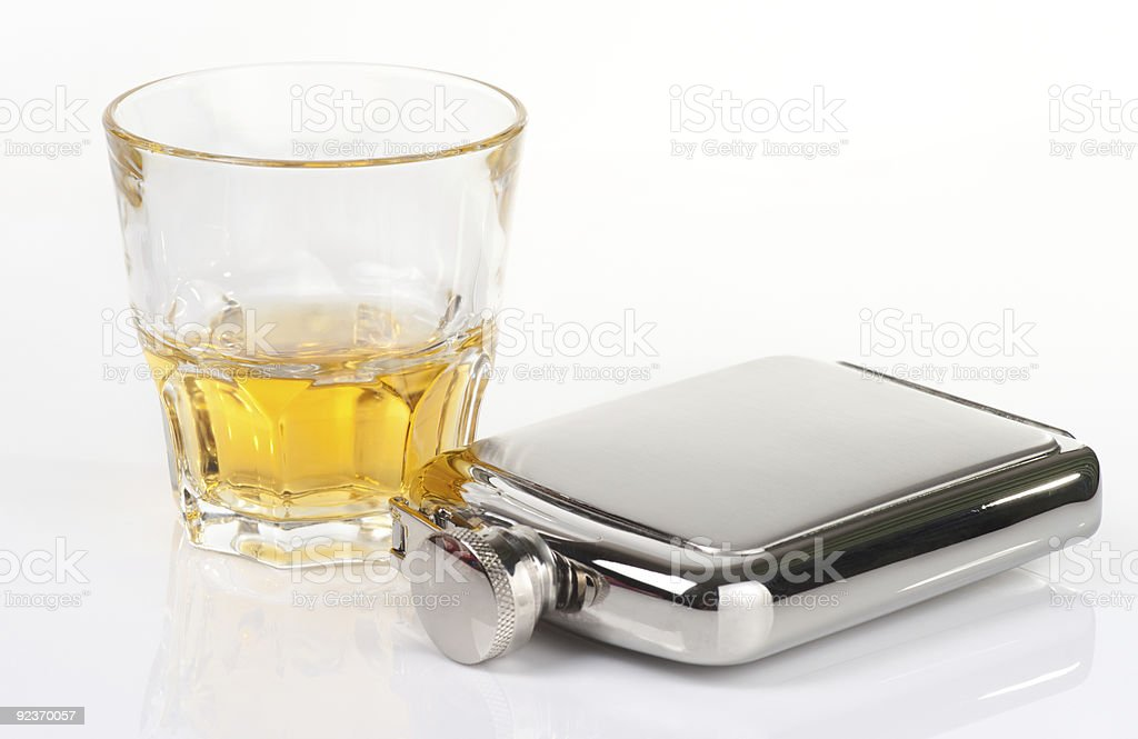 Stainless flask and whiskey tumbler royalty-free stock photo