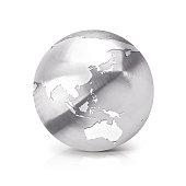 Stainless globe 3D illustration Asia & Australia map on white background