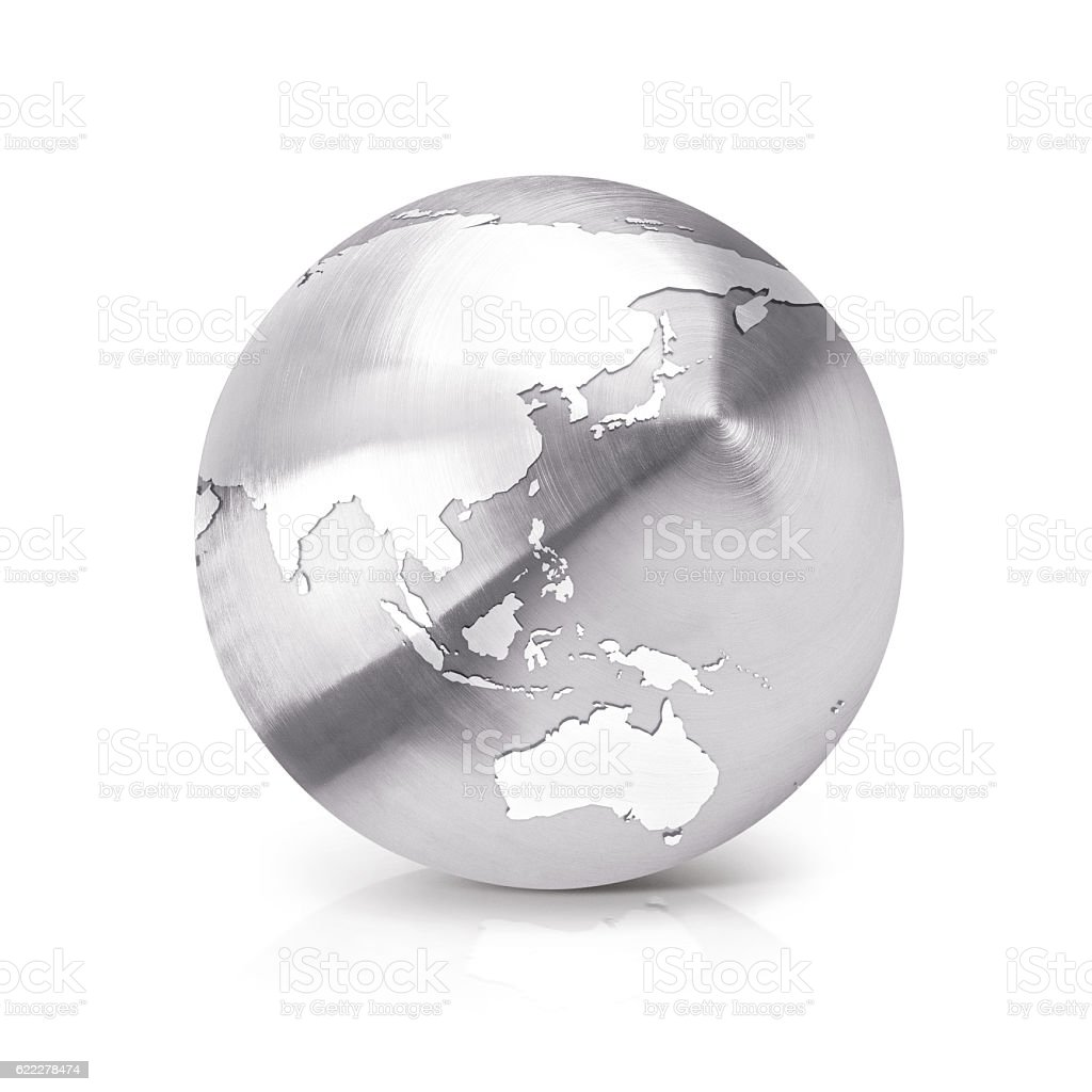 Stainless globe 3D illustration Asia & Australia map stock photo