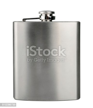 stainless hip flask isolated on a white