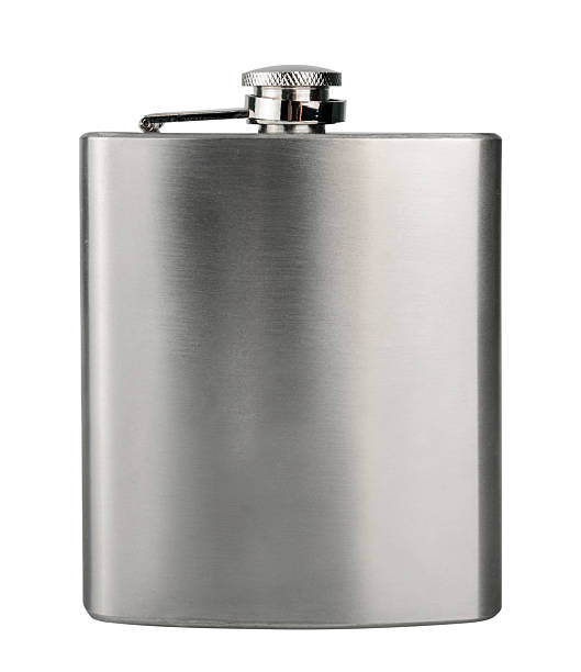 stainless hip flask isolated on a white - flask stock photos and pictures