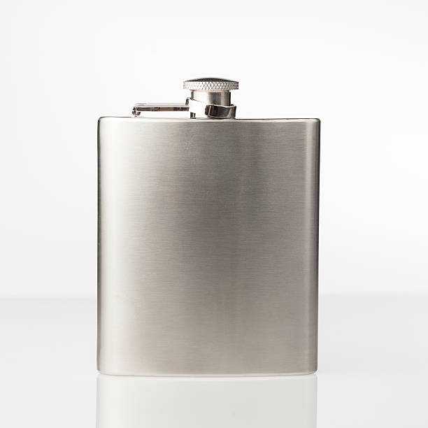 stainless hip flask - flask stock photos and pictures