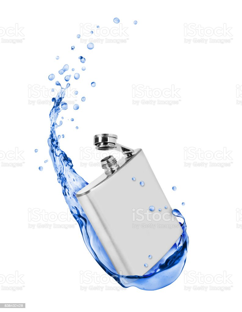 Stainless hip flask with fresh water splashes on white background stock photo