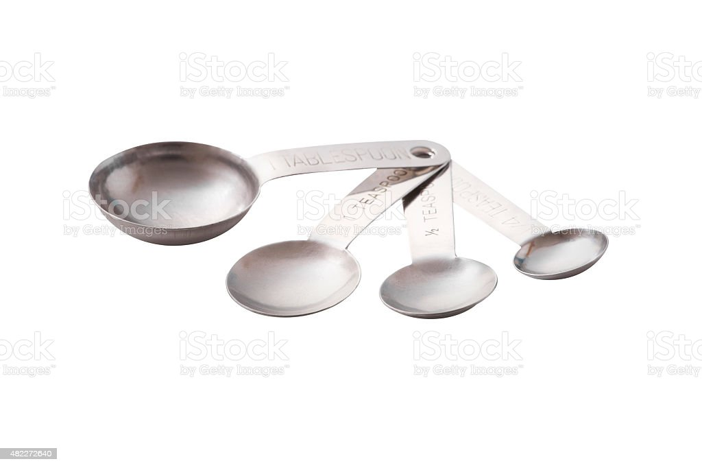 stainless measuring spoon stock photo