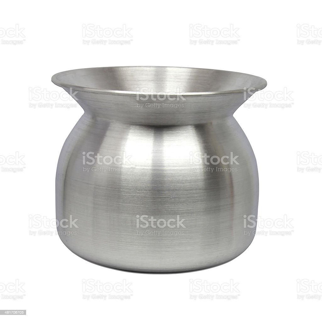 Stainless pot for sticky rice cooking on white background. stock photo