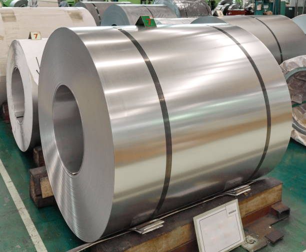 Stainless Rolled steel, Plate in factory warehouse stock photo