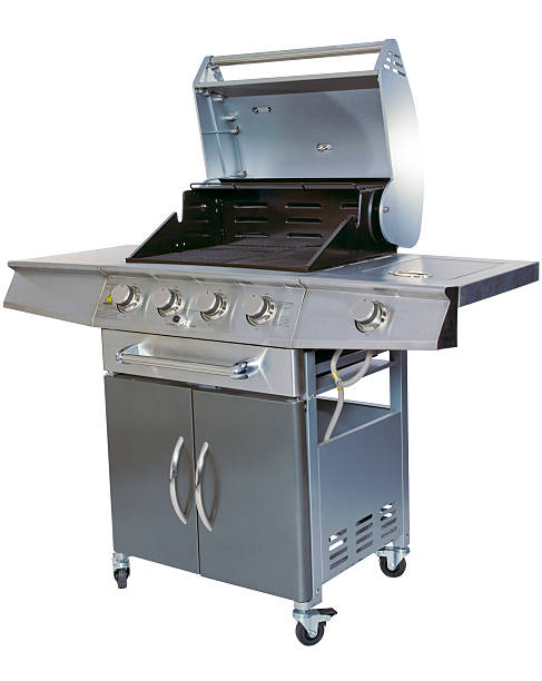 Stainless steel barbecue grill on white background stock photo