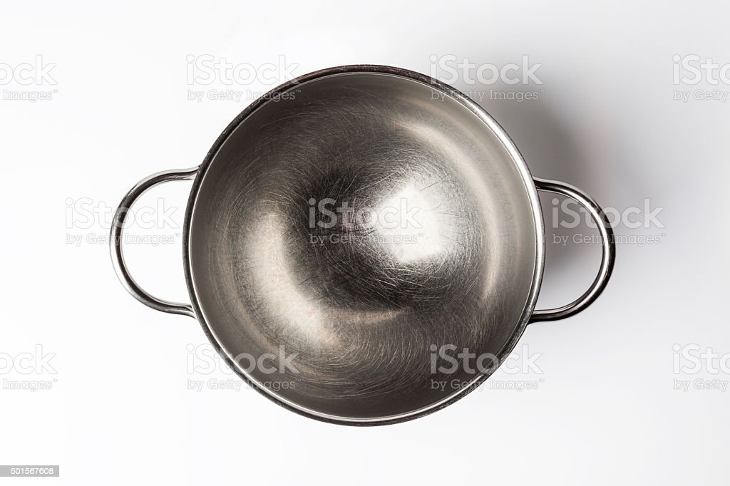 Stainless steel bowl directly from above on white stock photo