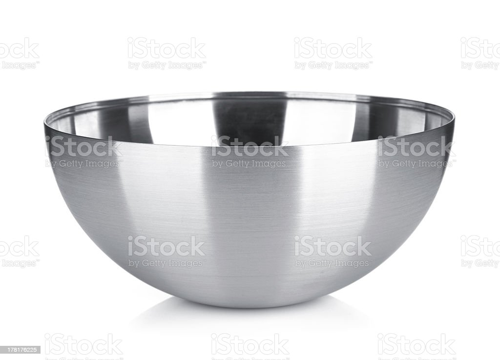 Stainless steel bowl stock photo