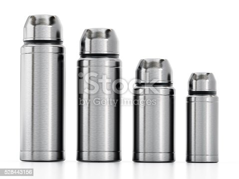 Vacuum flasks with one closed and one with open lid isolated on white.