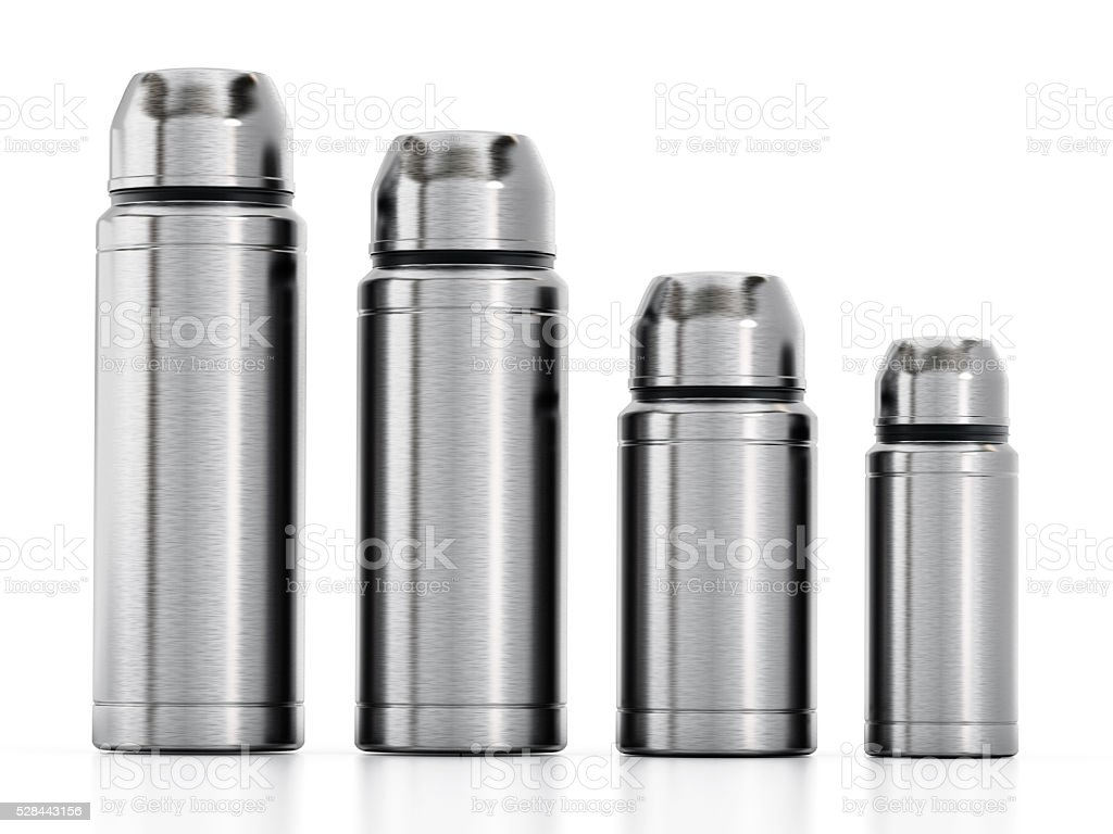 Stainless Steel Can Insulators stock photo