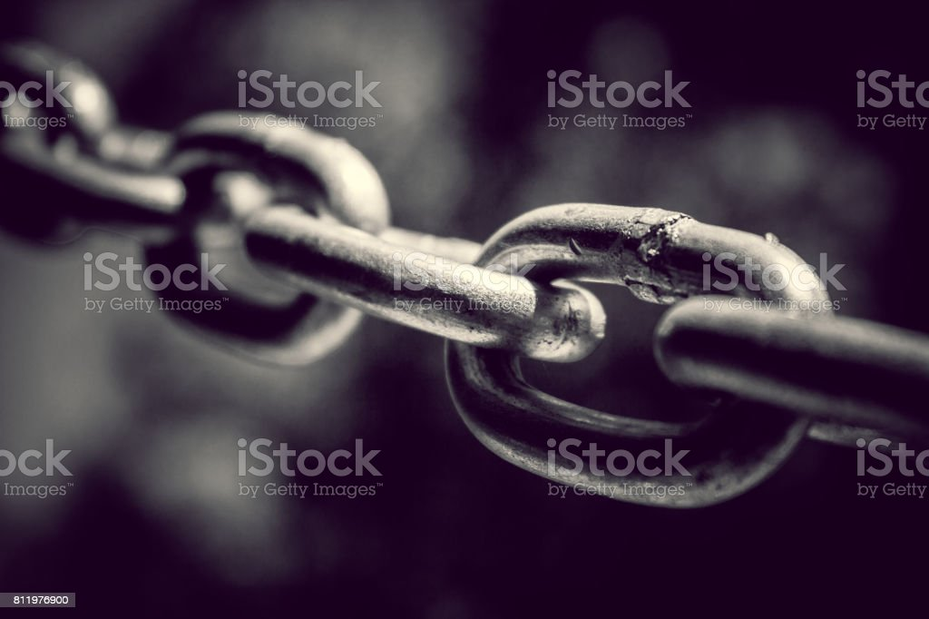 Stainless steel chain. Industrial metal background stock photo