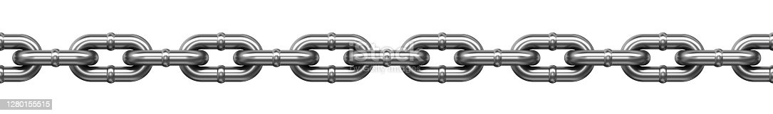 Stainless steel chain links seamless loop pattern. 3d illustration isolated on the white background with clipping path.