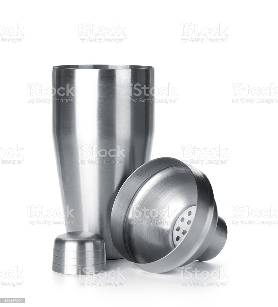 A stainless steel cocktail shaker on a white background royalty-free stock photo