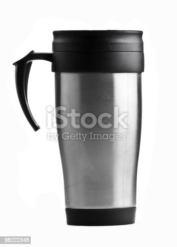 This image is of a silver coffee mug.