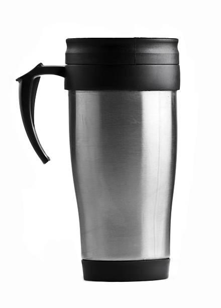 Stainless steel coffee mug on white background  stock photo