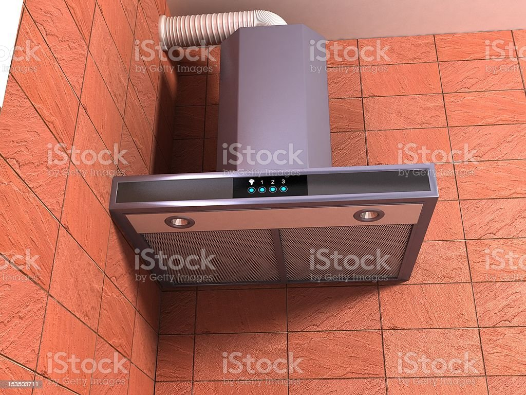 stainless steel cooker hood stock photo