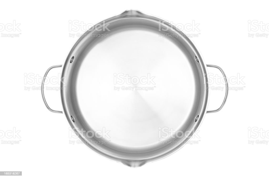 Stainless steel cooking pot with clipping path stock photo