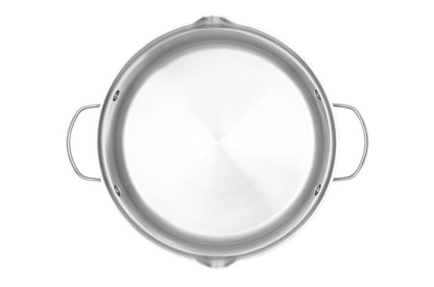 stainless steel cooking pot with clipping path - steelpan pan stockfoto's en -beelden