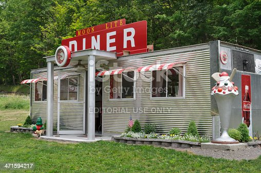 Alum Bank, PA, USA - June 22, 2013: Stainless steel diner, a roadside restaurant with America nostalgia.