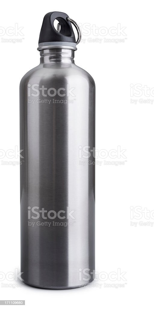 Stainless Steel Drink Bottle Isolated + Clipping Path stock photo