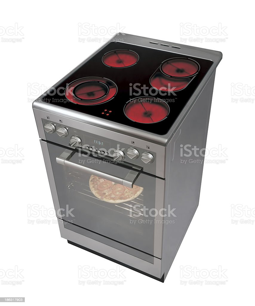 Stainless steel electric stove with oven royalty-free stock photo