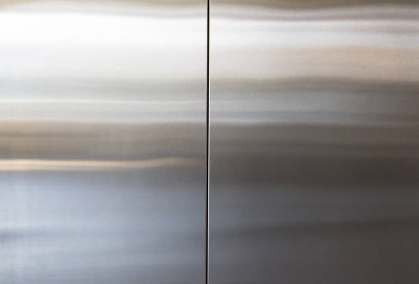 stainless steel elevator door background and texture, silver metal wall panel - stainless steel stock pictures, royalty-free photos & images