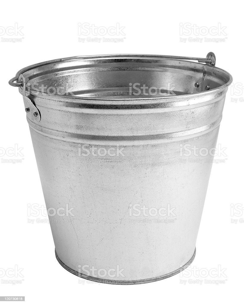 A stainless steel empty bucket on a white background royalty-free stock photo
