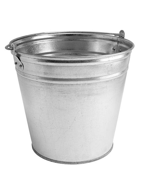 A stainless steel empty bucket on a white background stock photo