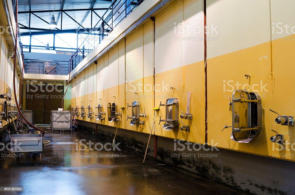 Stainless steel fermentation vessels stock photo