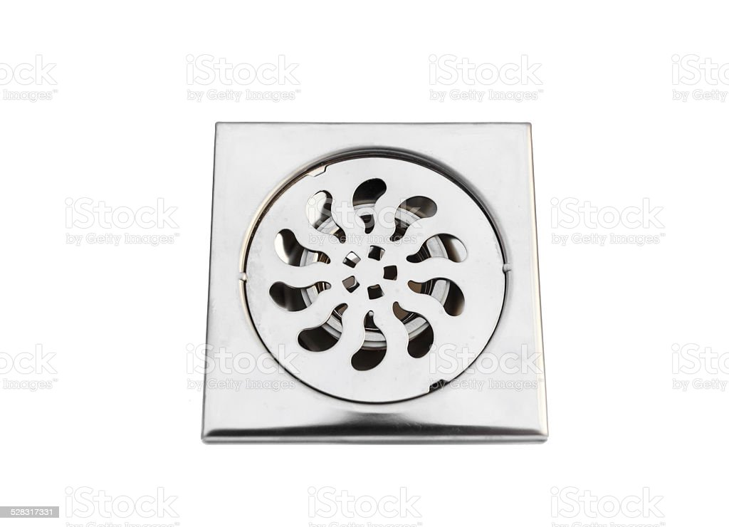 Stainless steel floor drain stock photo