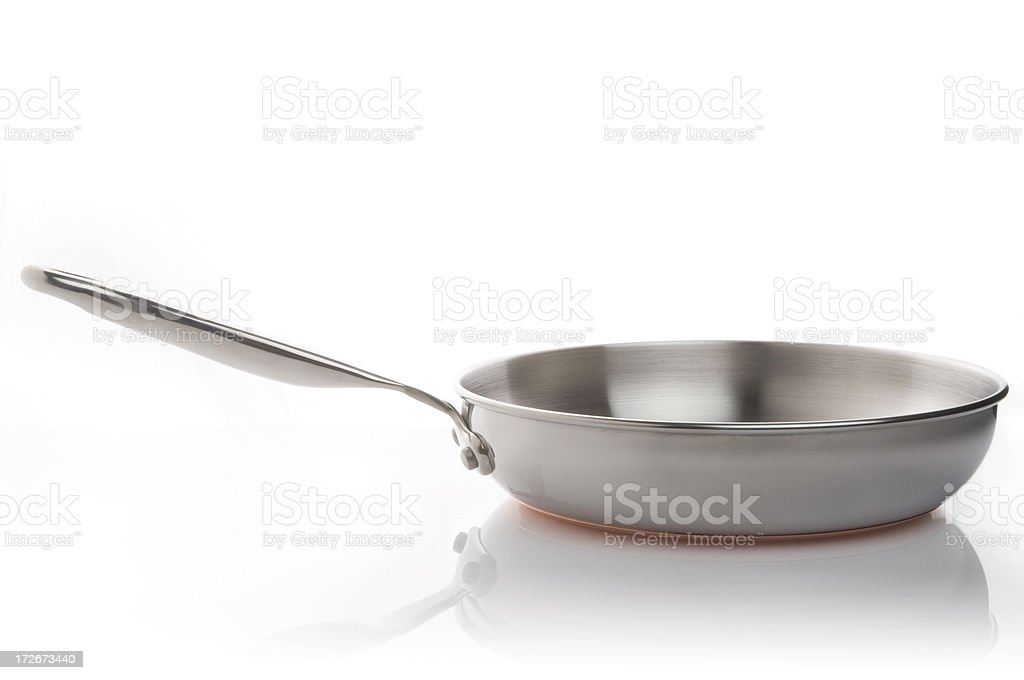 Stainless steel frying pan on white background stock photo