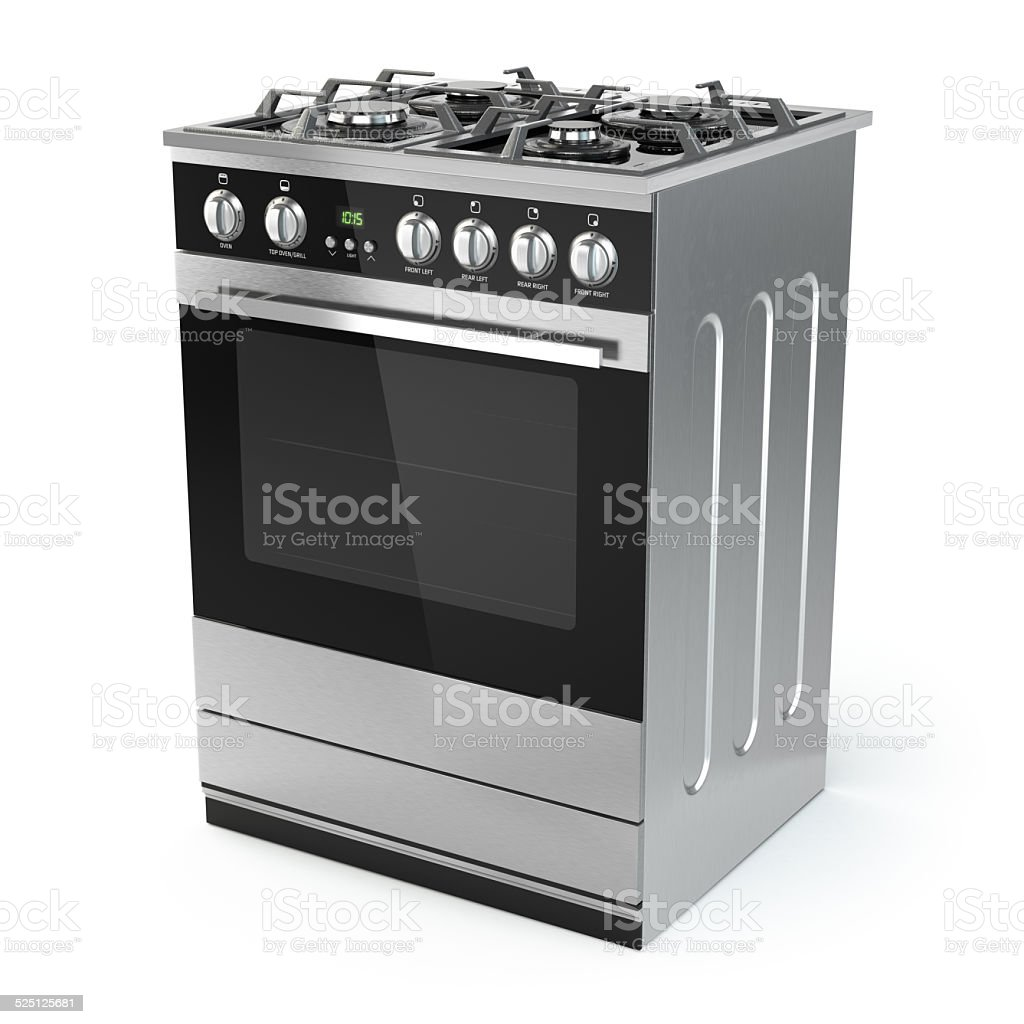 Stainless steel gas cooker with oven isolated on white. stock photo