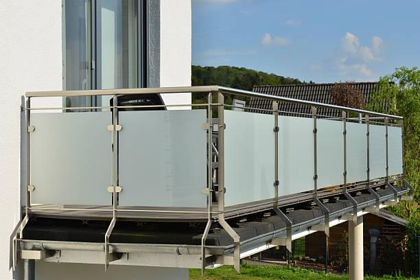 stainless steel handrail stock photo