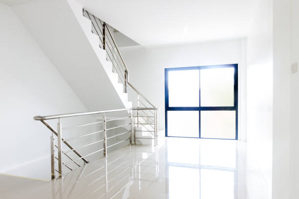stainless steel handrails stock photo