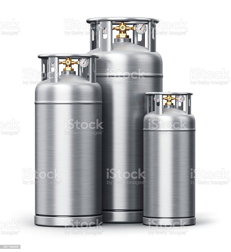 Stainless steel high pressure industrial containers for liquefied gas stock photo