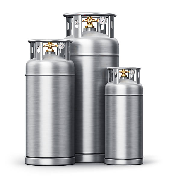 stainless steel high pressure industrial containers for liquefied gas - azoto foto e immagini stock
