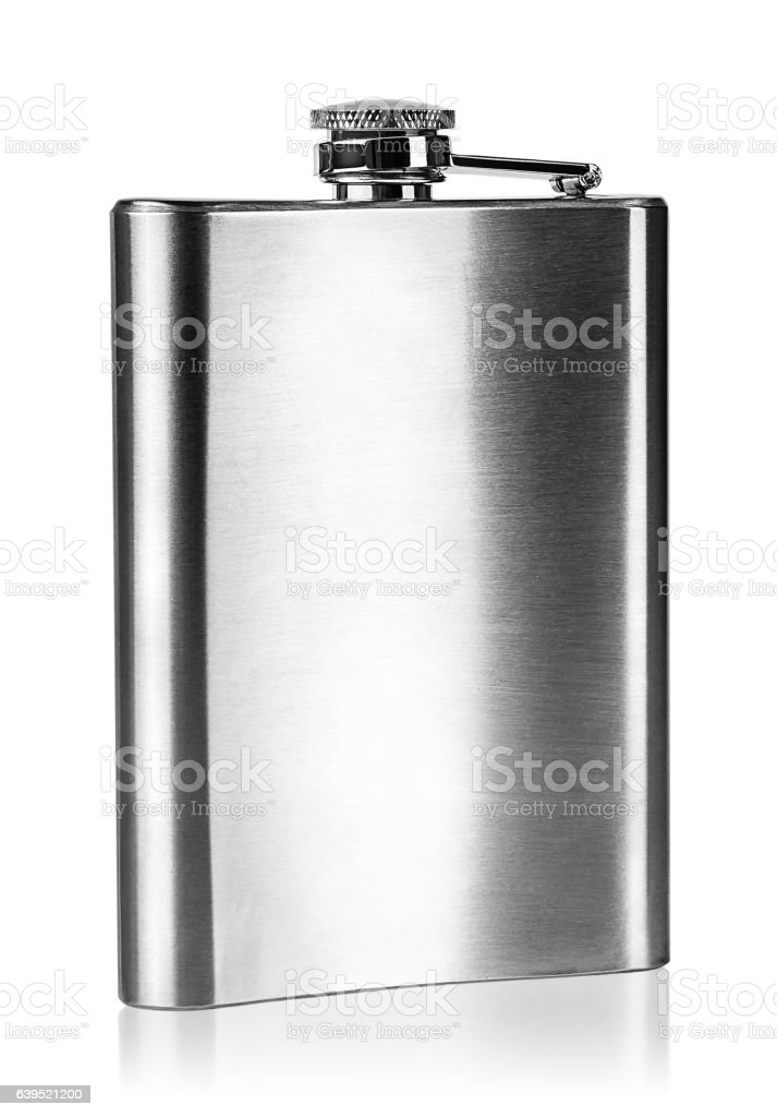 Stainless steel hip flask rear view stock photo