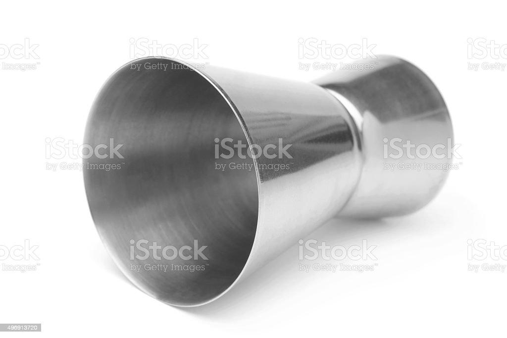 Stainless steel jigger stock photo